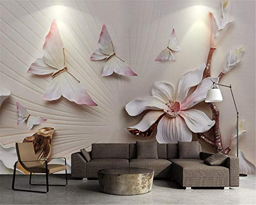 Elegant Magnolia - ZXCIE 3D Wallpaper Stereo Fashion Simple and Elegant Magnolia Colorful Butterfly 3D Relief Murals Wallpaper for Walls