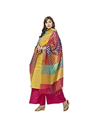 Dupatta Bazaar Woman's Woven Multicolored Banarasi Silk Dupatta