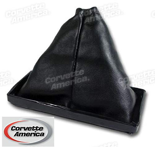 68-76 Corvette Shift Boot, Black Leather, Manual - Corvette Shift Boot