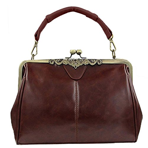 Wholesale Handbags Womens (Donalworld Women Retro Hollow out Leather Shoulder Handbag Coffee)