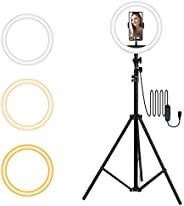 TECHVIDA Aro de Luz Led para Selfies con Trípode | Luz Circular Ajustable LED para Maquillaje | Fotografia | V