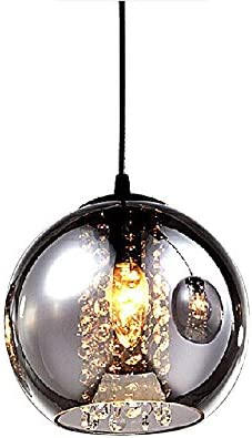 MAMEI Modern Grey Glass Globe Pendant Light Fixture with Crystal Drop D7.8 for Island and Dinning Room