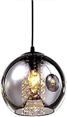 MAMEI Modern Grey Glass Globe Pendant Light Fixture