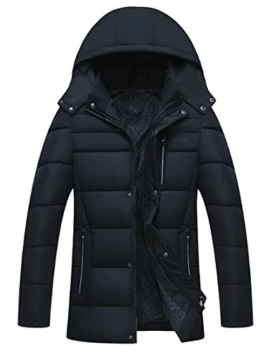 Coat blue Outwear Navy Quilted Warm amp;E Solid H Men's Hoodie Removable Parka 1URxgwZSq
