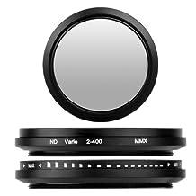 BlueBeach 58mm Adjustable ND Neutral Density fader Lens filter ND2-ND400 for Canon Nikon Sony Pentax Panasonic Fuji JVC Kodak DSLR Digital Camera