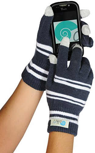 Womens texting glove for iPhone, iPad all touch screen devices, Navy/White