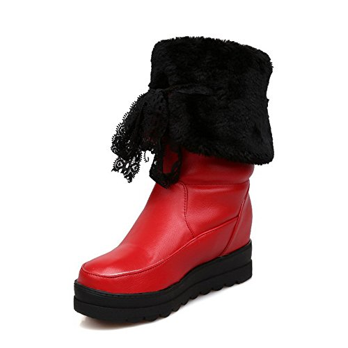 AllhqFashion Mujeres Puntera Redonda Mini Tacón Material Suave Caña Media Sólido Botas Rojo