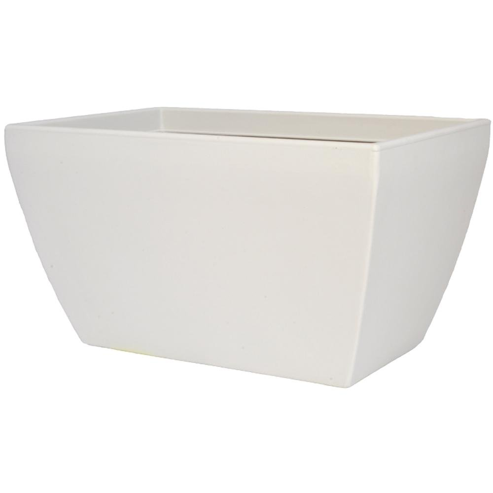 Pride Garden Products Toscana 15 in. L x 31 in. W x 15 in. H White Plastic Rectangle Patio Planter