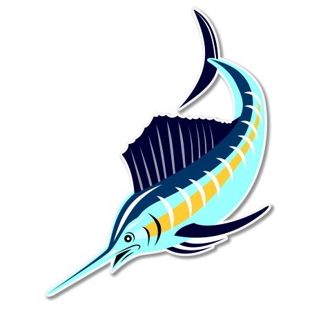 - Sailfish Beautiful Color Vinyl Sticker - Car Window Bumper Laptop - SELECT SIZE