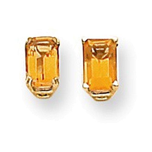 14k 6x4mm Emerald Cut Citrine earring