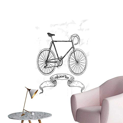 Brandosn Bicycle Wall Sticker self-Adhesive Ride Your Bike Lettering with Nostalgic Mountain Bike Hand Drawn Sketchy Lady Room Wall Charcoal Grey White W8 x H10 -