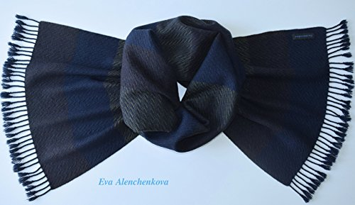 Men's Green Blue Brown Cashmere Silk Hand Woven Scarf by Eva Alenchenkova