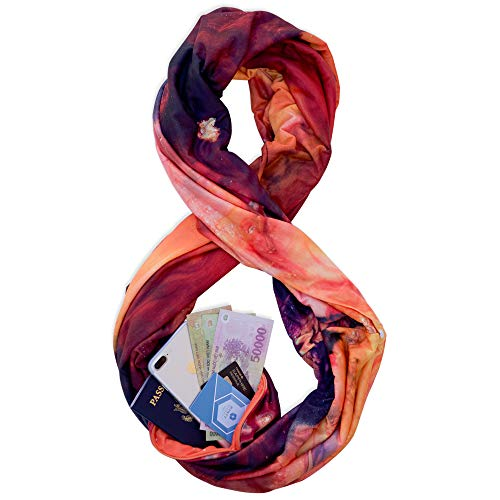 (TRAVEL SCARF by WAYPOINT GOODS // Infinity Scarf w/Secret Hidden Zipper Pocket (Desire))