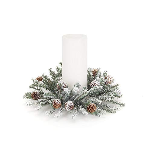 Diva At Home Set of 6 White and Green Frosted Pine Cone Artificial Candle Ring - Frosted Pine Berry