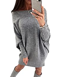 Yacun Womens Sweater Dress Off Shoulder Batwing Sleeves Casual Knit Pullover Mini Dresses