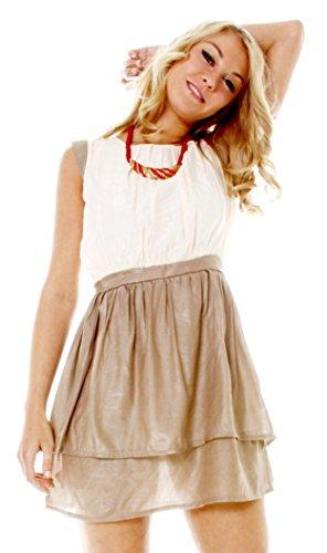 SuperModelGear Women's Gossip Girl Block Dress One Size Cream, Taupe
