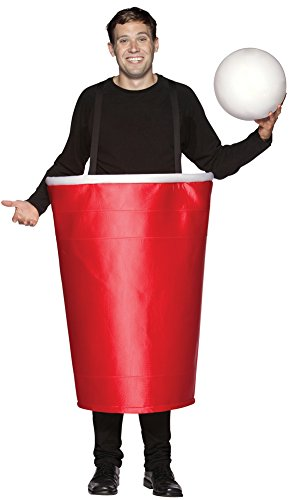 Mens Halloween Costume- Red Beer Pong Cup Adult Costume ()