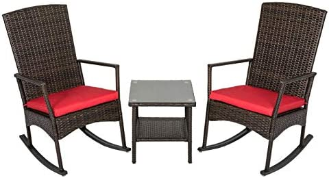 Kinbor 3PCS Outdoor Rattan Rocker Chair Side Tea Table Set, Garden Rocking Wicker Lounge w Red Cushion