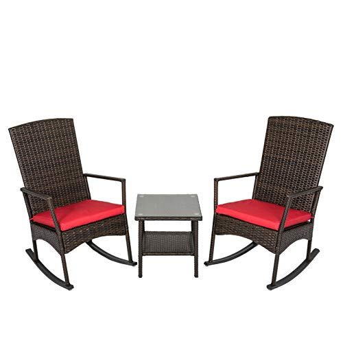 kinbor 3PCS Outdoor Rattan Rocker Chair Side Tea Table Set, Garden Rocking Wicker Lounge w/Red Cushion (For Porch Front Wicker Chairs)