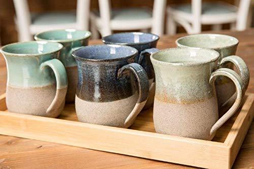 Ceramic mug set six coffe mugs 10 oz pottery mug, pottery coffee cup, insulated coffee mug, large mug, latte mug, XMAS presents chrismukkah stoneware coffee mug hanukkah card gift, unique cup blue mug