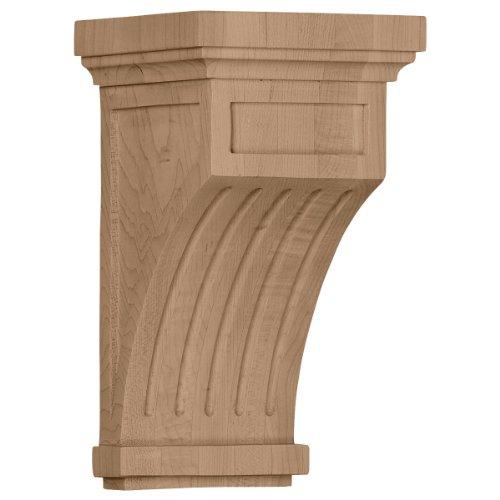 Ekena Millwork COR05X05X10FLRO-CASE-2 5 1/2 inch W x 5 1/2 inch D x 10 inch H Fluted Corbel, Red Oak (2-Pack),