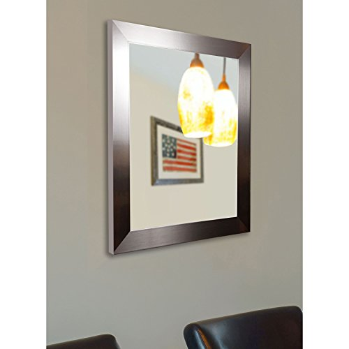 American Made Rayne Flat Stainless Silver Wall Mirror, 28 x 34