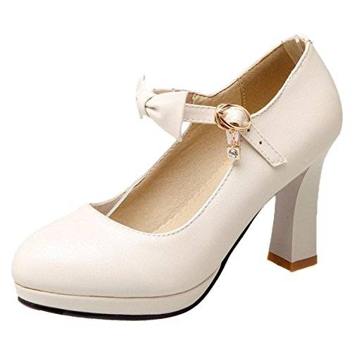 Women's Beige Court TAOFFEN High Shoes Bow Heel d8HTT6zOq