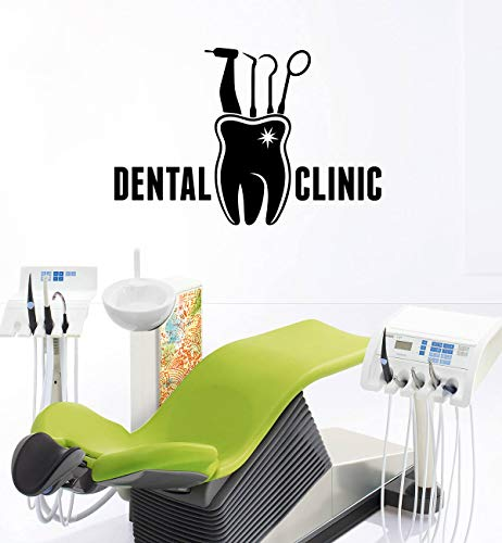 Melissalove Clinic Sign Wall Stickers Decal Stomatology Vinyl Window Logo Design Art Office Dentist Cabinet Decor LC443 (Black)