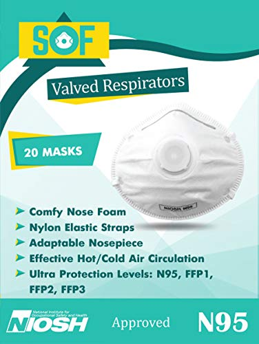 - 20-Pack N95 Masks, NIOSH Certified, Dust Mask, Disposable Face Mask with Exhalation Valve, N95 Respirators