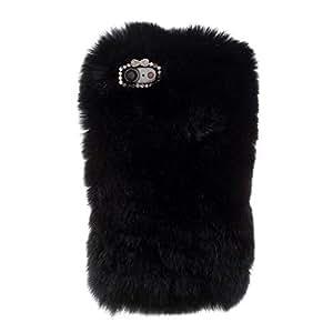 Rabbit Fur Diamante Case Plastic TPU Cover for iPhone 7 - Black