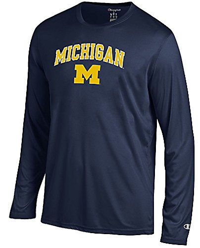 Michigan Wolverines Navy Vapor Dry Champion Powertrain Long Sleeve Tee Shirt (XL=48)