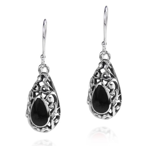 .925 Sterling Silver Reconstructed Black Onyx Filigree Teardrop Fish Hook Earrings