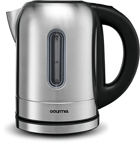 Gourmia GDK350 Electric Kettle -Fast Water Boiling -LED Color Illumination -4 Preset Temperature Control -Keep Warm Function -Cordless -Auto Shut Off -Boil Dry Protection -1.7L -1500W -Stainless ()