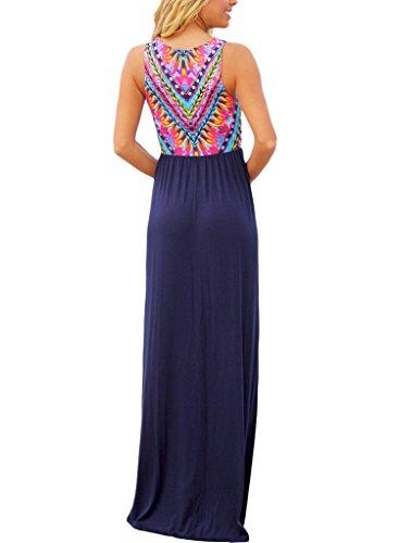 Navy Print Casual Sleeveless Long Dresses Dress Beach Maxi Women Dearlovers Vibrant Summer 6SP1R