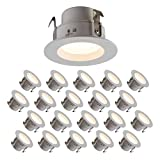LED 4'' Downlight 10W, 120V, 665 Lumens, CRI>90, Dimmable, Energy Star, Title 24, JA-8 Compliant and UL Listed; 5 Year Warranty; E26 Base Orange Connector; Warm White 3000K- (20 Pack)
