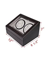 Generic O-8-O-3548-O Box Bl Storage Case e Displ Watch Winder Storage Leather Automatic atch Wi Display Box Black Brown Rotatio Rotation 4+6 HX-US5-16Apr28-106