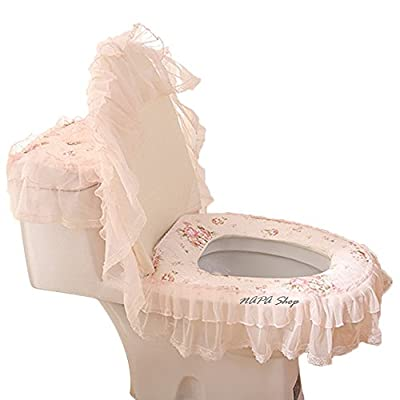 3 Pcs Home Bathroom Pink Fabric Lace Toilet Seat Cover Tank Cover Closestool Lid Cover Set for U Shape Closestool Accessories