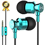 Marsno M1 Wired Metal in Ear Headphones, Noise Isolating Stereo Bass Earphones with Mic,Dynamic Drivers Provide Stereo & Crystal Clear Sound (Blue)