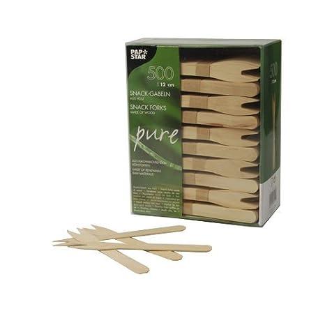 "500 Gabeln Holz /""pure/"" 16,5 cm Holzbesteck Party Einwegbesteck"
