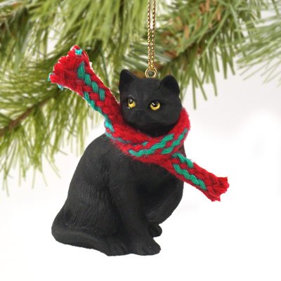 1 X Tiny Ones Black Cat Ornament w/scarf by Conversation Concepts (Black Cat Christmas Ornament)