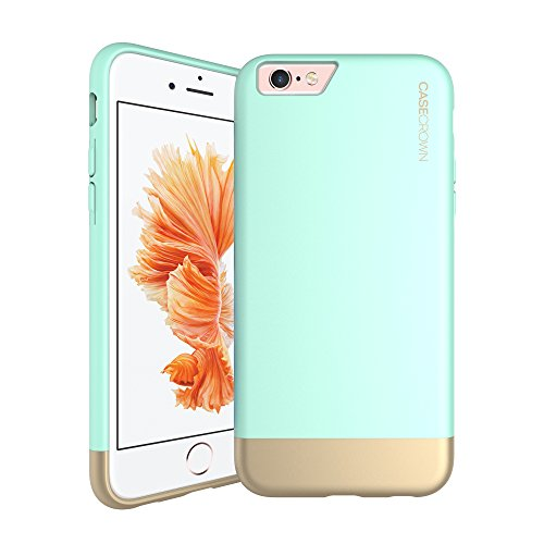 iPhone 6 Plus Case, Perfect Fit & Soft Interior, CaseCrown Lux Glider Case Dual-Tone (Mint / Gold)