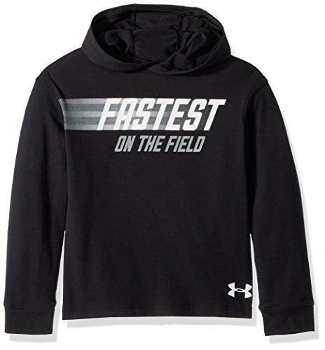 (Under Armour Boys Fastest Graphic Long Sleeve Hoodie, Black (001)/White, Youth X-Large)