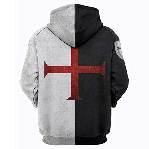 Knights Templar Armor Hoodies Jacket Crusader Cross Medieval Sweathsirt