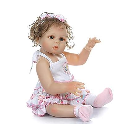 Lullaby 18inch Cute Reborn Baby Dolls Silicone Full Body Blue Eyes Real Look Newborn Dolls Girl Cruly Hair Safety Tested: Toys & Games