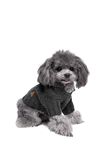 Golden Paw Premium Dog Hoodie, Dog Sweater, Dog Apparel, Warm Dog Clothes … (Small, Charcoal)