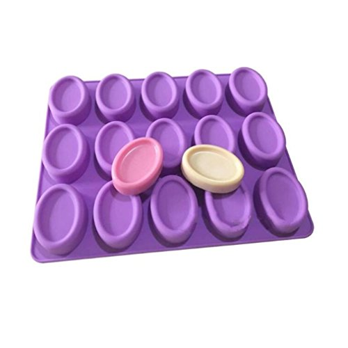 Allforhome(TM) 15 Oval Toast Silicone Chocolate mold Sample Soap Mold Muffin Cups Handmade Dessert Biscuit candy mold Ice Cube Tray DIY