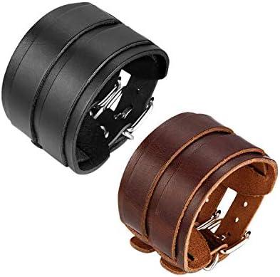 JewelryWe Leren herenarmband punk rock stijl 2 riemen design lederen armband met manchetknopen partnerarmband armband armband 26 cm breedte 5 cm
