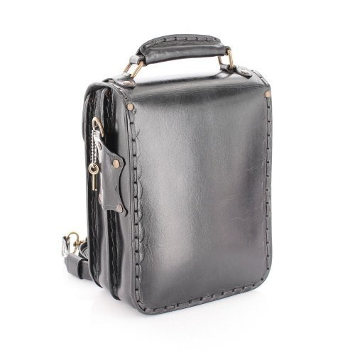 Leather Messenger Bag for Men Leather Satchel Vertical Black
