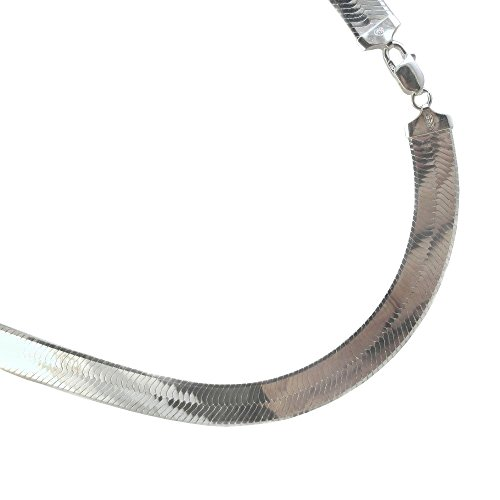 11.5mm Herringbone Sterling Silver Necklace. 925 Italian Chain. 16,18,20,22,24,30 inches (20 Inches) by JOSCO