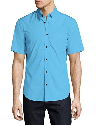 Ma Croix Essentials Mens Premium Short Sleeve Dress Shirt Slim Fit Stretch Solid